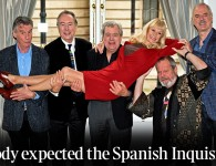 Monty Python re-union, Left to right: Michael Palin, Eric Idle, Terry Jones, Terry Gilliam, and John Cleese, London.