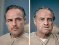 Marlon Brando before and after getting his make up done to be Don Vito Corleone in The Godfather www.cinematheia.com